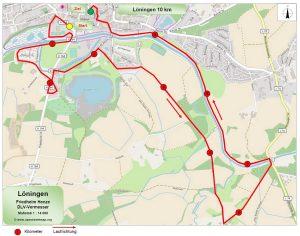zum Bild: Die neu vermessene 10-km-Strecke beim Remmers-Hasetal-Marathon des VfL Löningen.