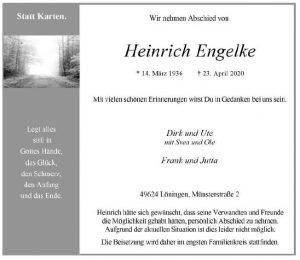 zum Bild: Traueranzeige der Familie von Heinz Engelke. Foto: Münsterländische Tageszeitung.