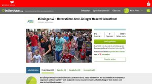 zum Bild: Über die Online-Spendenplattform www.betterplace.org/p80011 bittet der Remmers-Hasetal-Marathon des VfL Löningen um Unterstützung. Foto: Screenshot Remmers-Hasetal-Marathon.