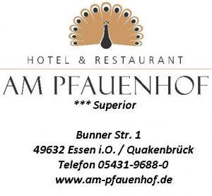 """zum Bild: Logo Hotel & Restaurant """"Am Pfauenhof""""."""