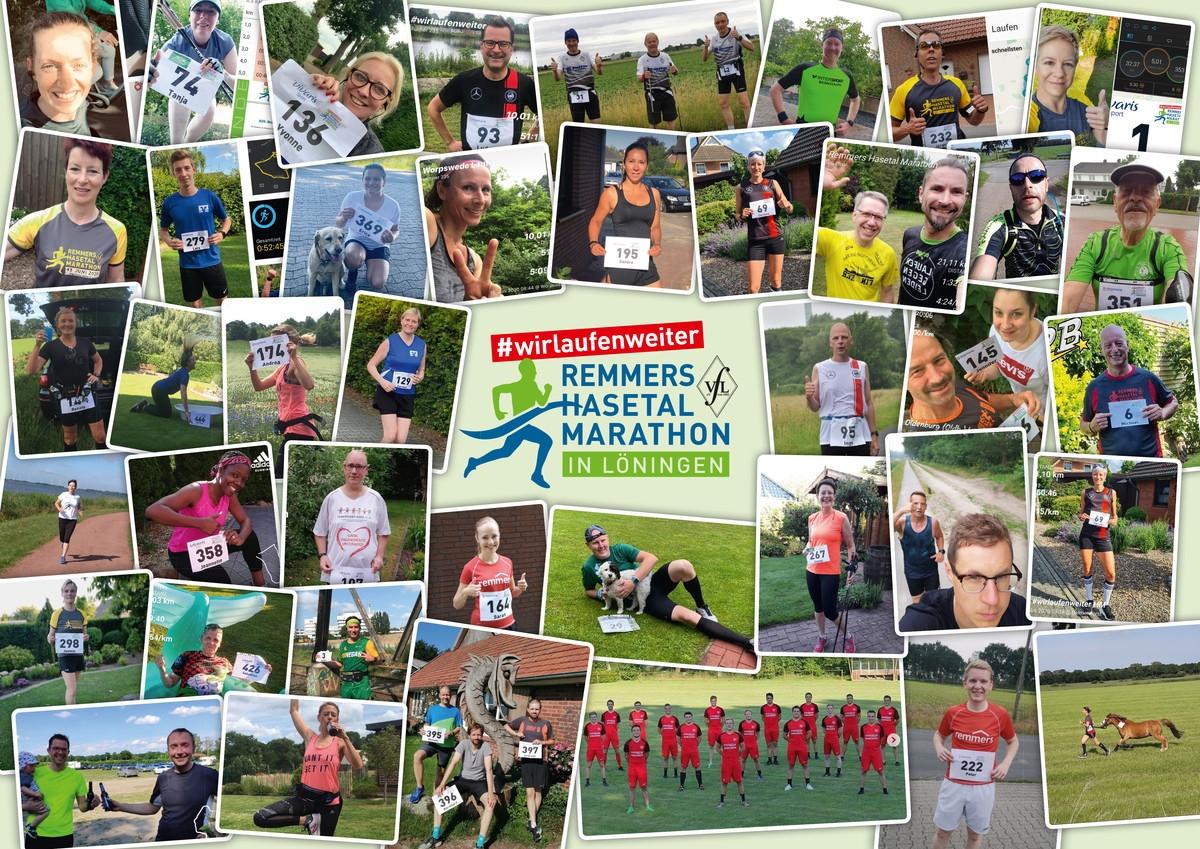 zum Bild: Der #wirlaufenweiter - Remmers-Hasetal-Marathon des VfL Löningen wurde von zahlreichen Läuferinnen und Läufern sehr gut angenommen. Foto-Collage: Remmers-Hasetal-Marathon.