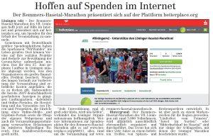 zum Bild: Bericht im Volltreffer - der Lokalzeitung vom 14.05.2020.