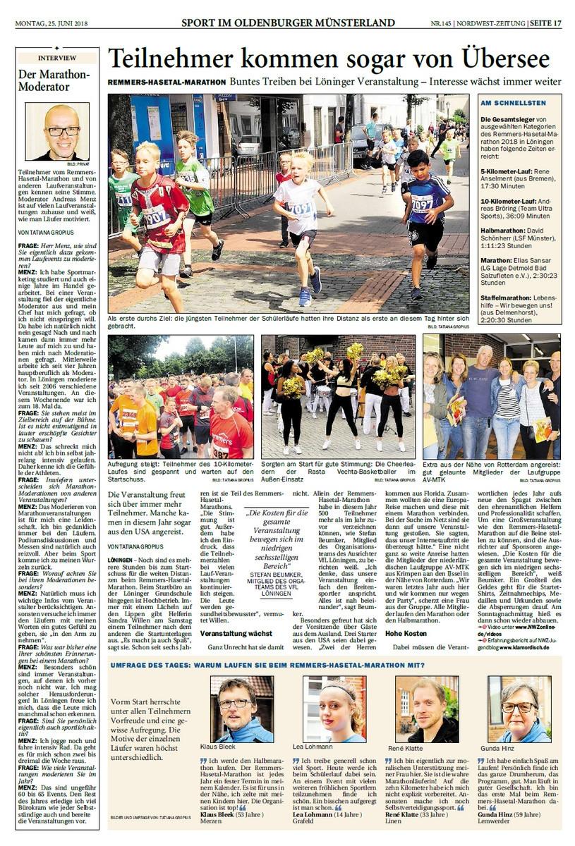 zum Bild: Bericht der Nordwest-Zeitung vom 25.06.2018.