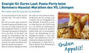 zum Bild: Pasta-Party beim Remmers-Hasetal-Marathon des VfL Löningen.