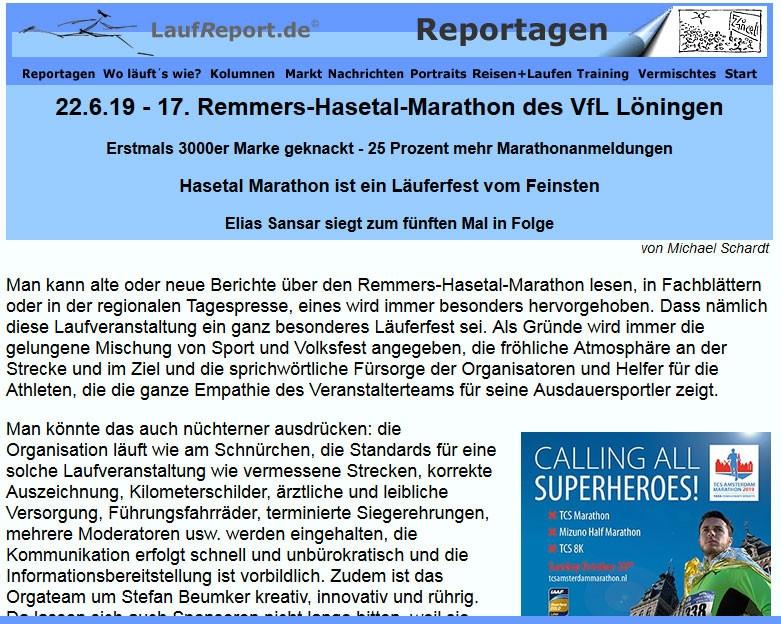 zum Bild: Der LaufReport berichtet über den Remmers-Hasetal-Marathon des VfL Löningen 2019.