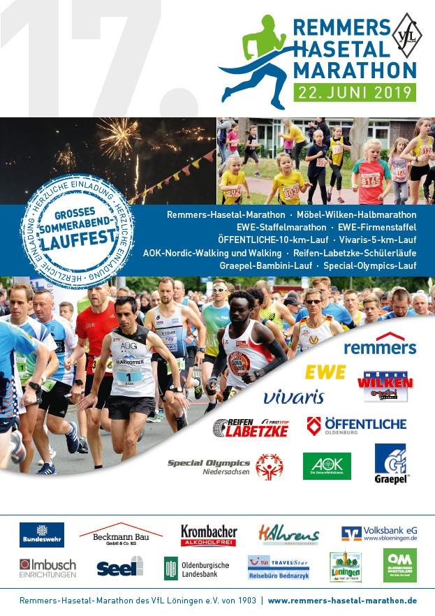 zum Bild: Plakat für den Remmers-Hasetal-Marathon des VfL Löningen 2019.