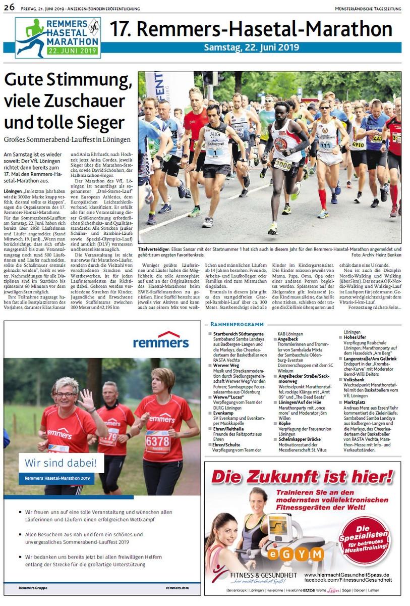 zum Bild: Bericht der Münsterländischen Tageszeitung vom 21.06.2019, Seite 1.