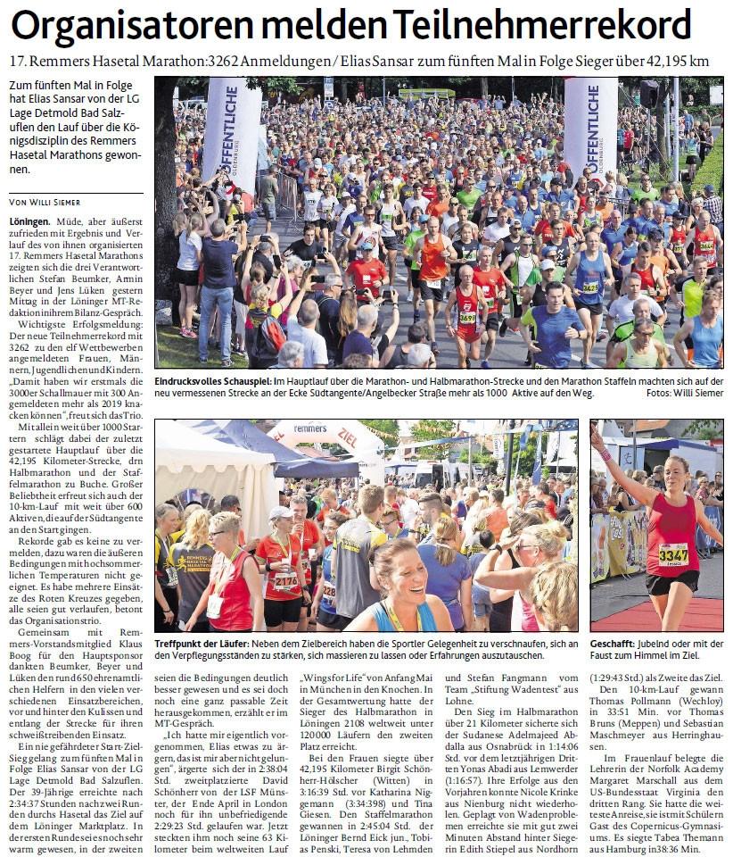 zum Bild: Bericht der Münsterländischen Tageszeitung vom 24.06.2019, Seite 1.