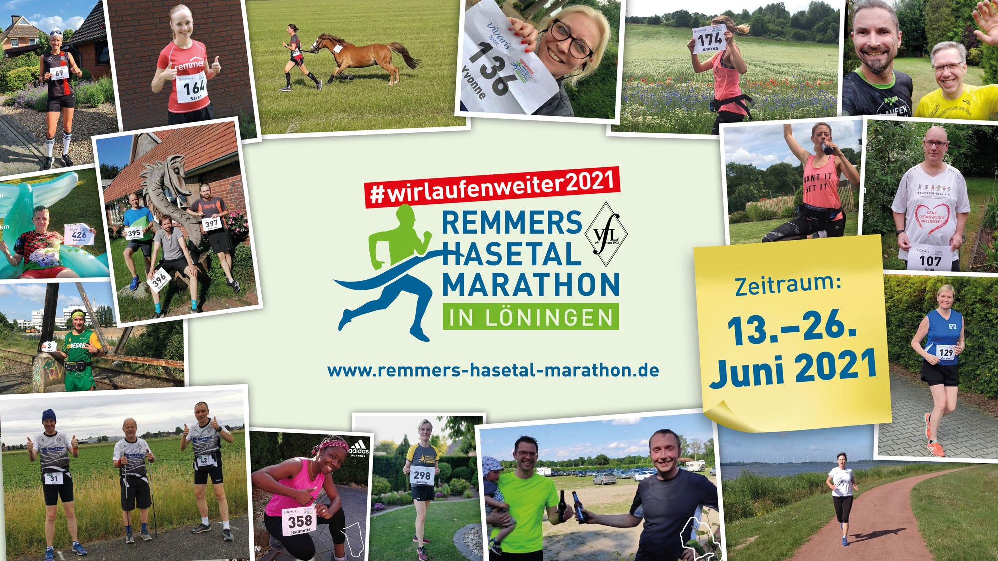 zum Bild:In der Zeit vom 13. Bis zum 26.06.2021 findet mit #wirlaufenweiter2021 bereits der 19. Remmers-Hasetal-Marathons des VfL Löningen statt.
