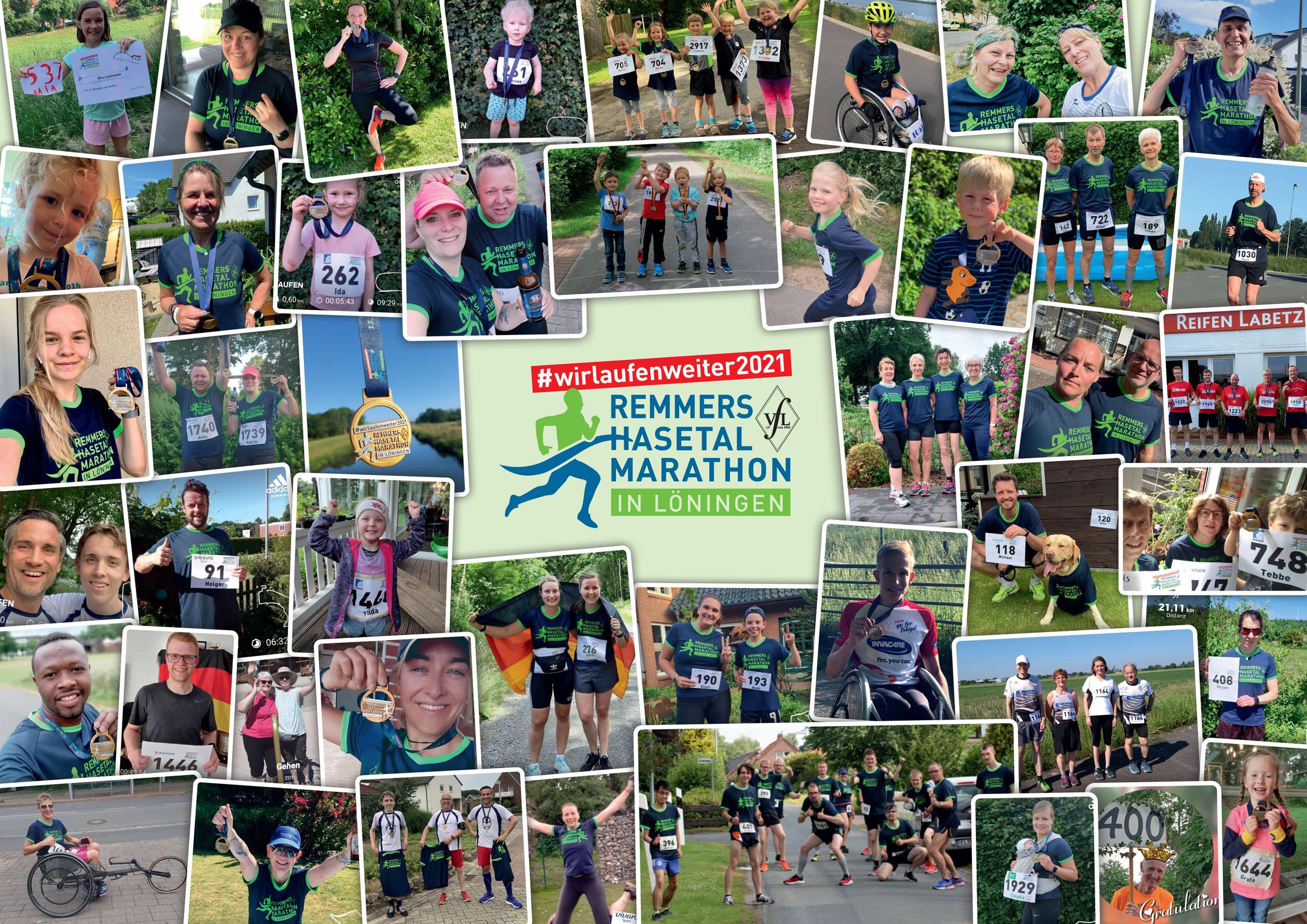 zum Bild:Mit 3.241 Anmeldungen wurde der #wirlaufenweiter2021 – Remmers-Hasetal-Marathon des VfL Löningen von zahlreichen Läuferinnen und Läufern sehr gut angenommen. Foto-Collage: Remmers-Hasetal-Marathon.
